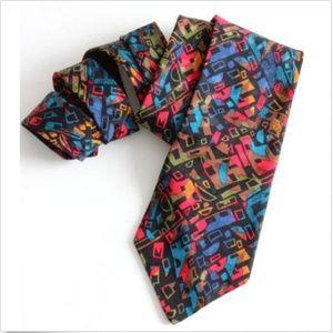 Guy Laroche Couture Abstract Print Silk Neck Tie